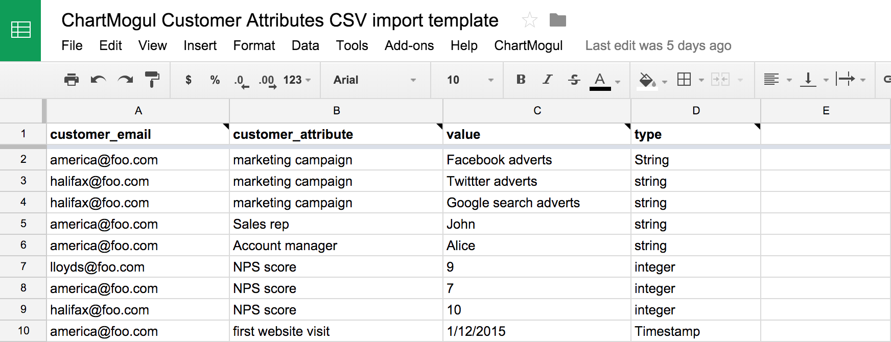 Importing Customer Attributes From A Google Sheet Help Center - Google spreadsheet format