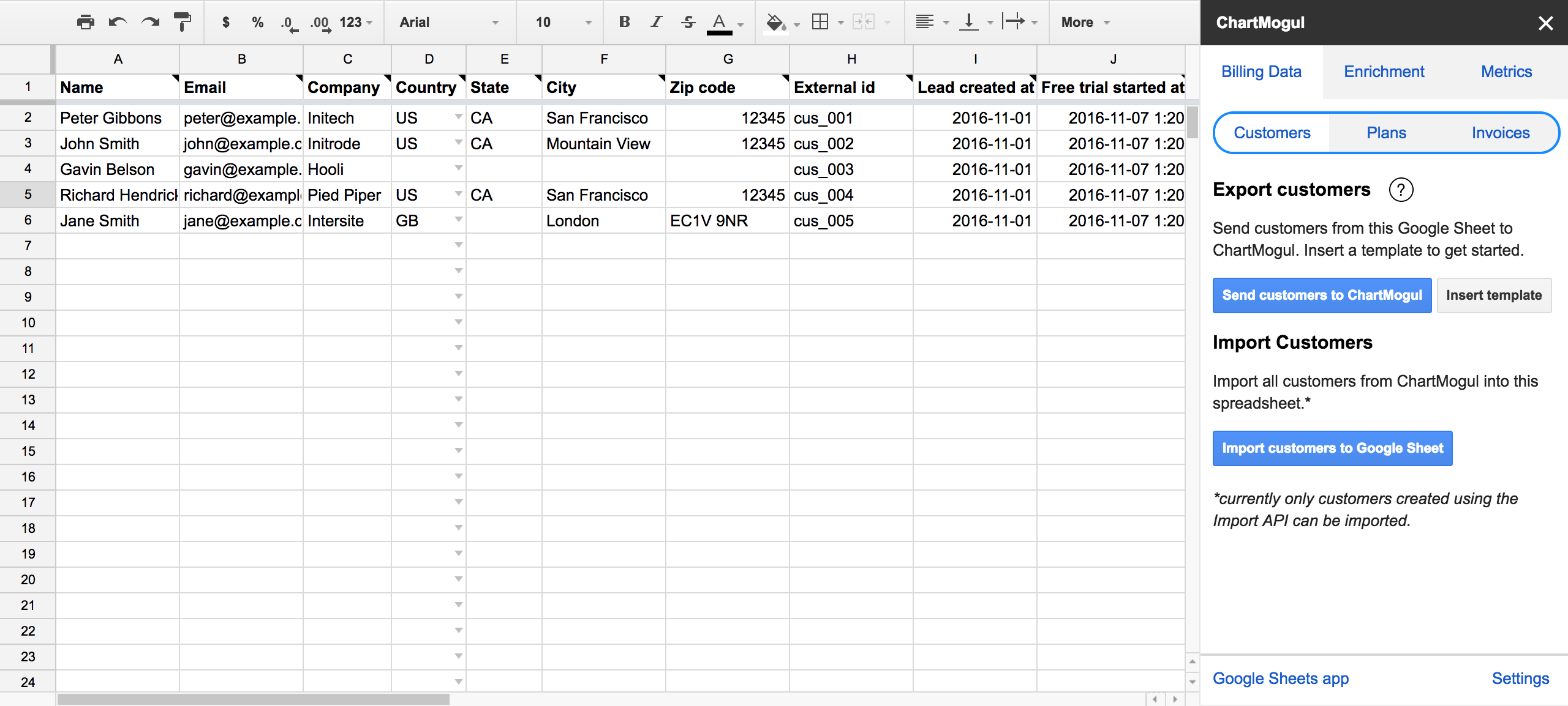 how to import trial and lead data from google sheets help center